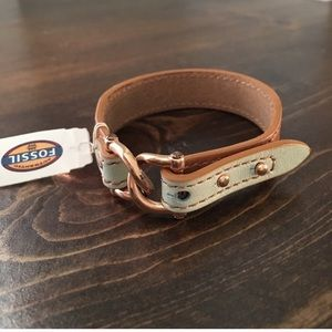 Fossil brown leather strap bracelet NWT
